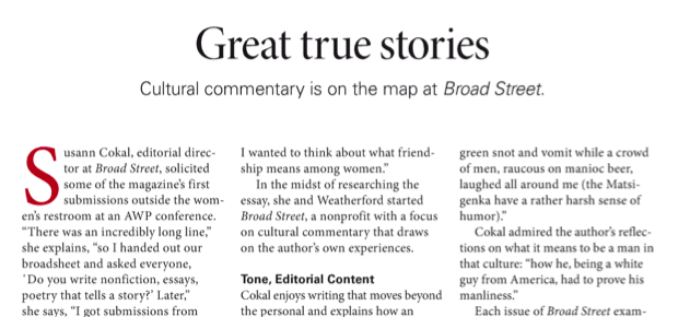 The Writer magazine features Broad Street