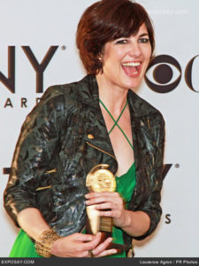 "06/10/2012 - Paloma Young - 66th Annual Tony Awards - Press Room - Jewish Community Center, 334 Amsterdam Avenue at 76th Street - New York City, NY, USA - Keywords: Best Costume Design of a Play, statuette, lime green dress, dark jacket, bracelet, ""Peter and the Starcatcher"" Orientation: Portrait Face Count: 1 - False - Photo Credit: Laurence Agron / PR Photos - Contact (1-866-551-7827) - Portrait Face Count: 1"