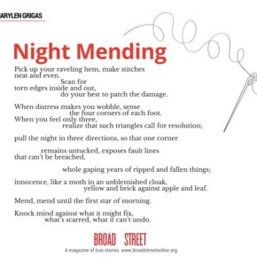 "Share this Poem:  ""Night Mending,"" by Marylen Grigas"
