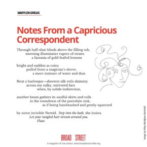 "Share this Poem: ""Notes From a Capricious Correspondent,"" by Marylen Grigas"