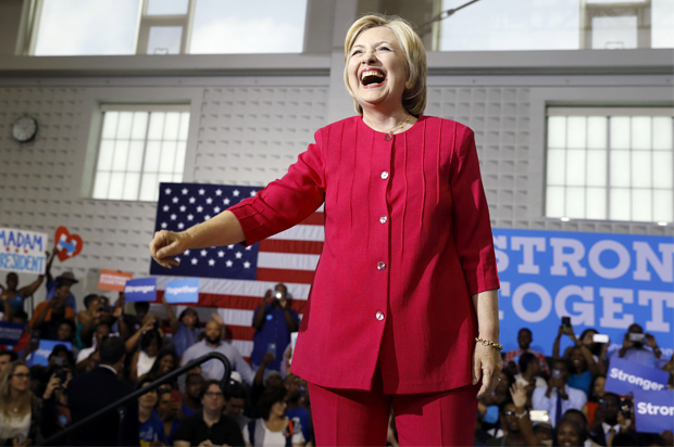 Democratic presidential candidate Hillary Clinton reacts as she arrives at a Pennsylvania Democratic Party voter registration event at West Philadelphia High School in Philadelphia, Tuesday, Aug. 16, 2016. (AP Photo/Carolyn Kaster)