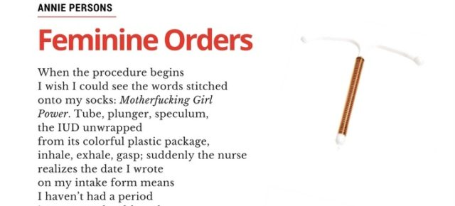 "Share This Poem:  ""Feminine Orders,"" by Annie Persons."
